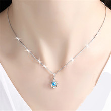 Sterling Silver 925 Necklace Blue Sapphire Topaz Pendant Women's Fashion Retro S925 Sliver Necklace Gemstone Jewelry Pendants(China)