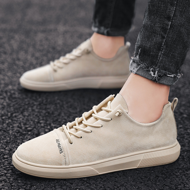 Suede Leather Designer Vintage Sneakers Men British Style Low Top Casual Flat Shoes Lace Up wild casual tide shoes Shoes cb5feb1b7314637725a2e7: beige|Black|Gray|khaki|White|White blue