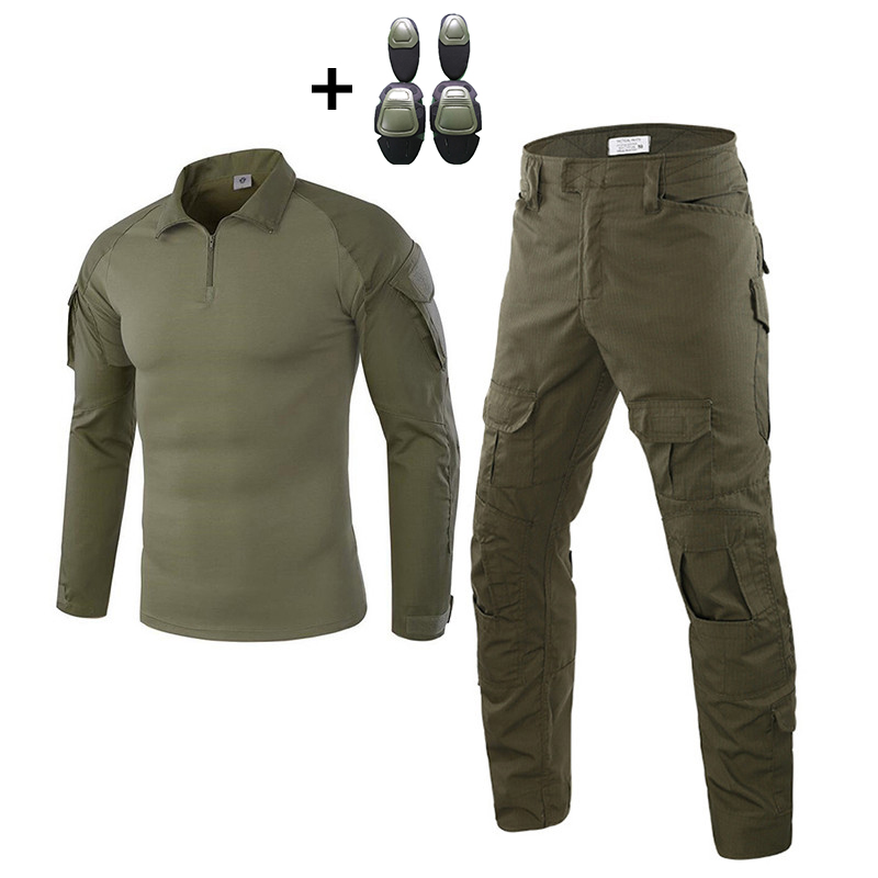 Men Tactical Uniforms With Knee Elbow Pads Military Combat Paintball Army Sportswear Outdoor Camouflage Airsoft Hunting Sets