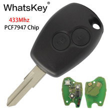 WhatsKey 2 Button Car Remote Key For Renault Megane Modus Clio Duster Kangoo Logan Sandero 433Mhz PCF7947 Chip With VAC102 Blade 2 button remote key shell case va 2 blade for renault clio kangoo megane modus retail wholesale free shipping