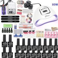 16 Colors Gel Varnish Nail Polish Kit Nail Set UV LED Nail Lamp 20000rpm Electric Nail Drill Machine Manicure Set Nail Art Tool
