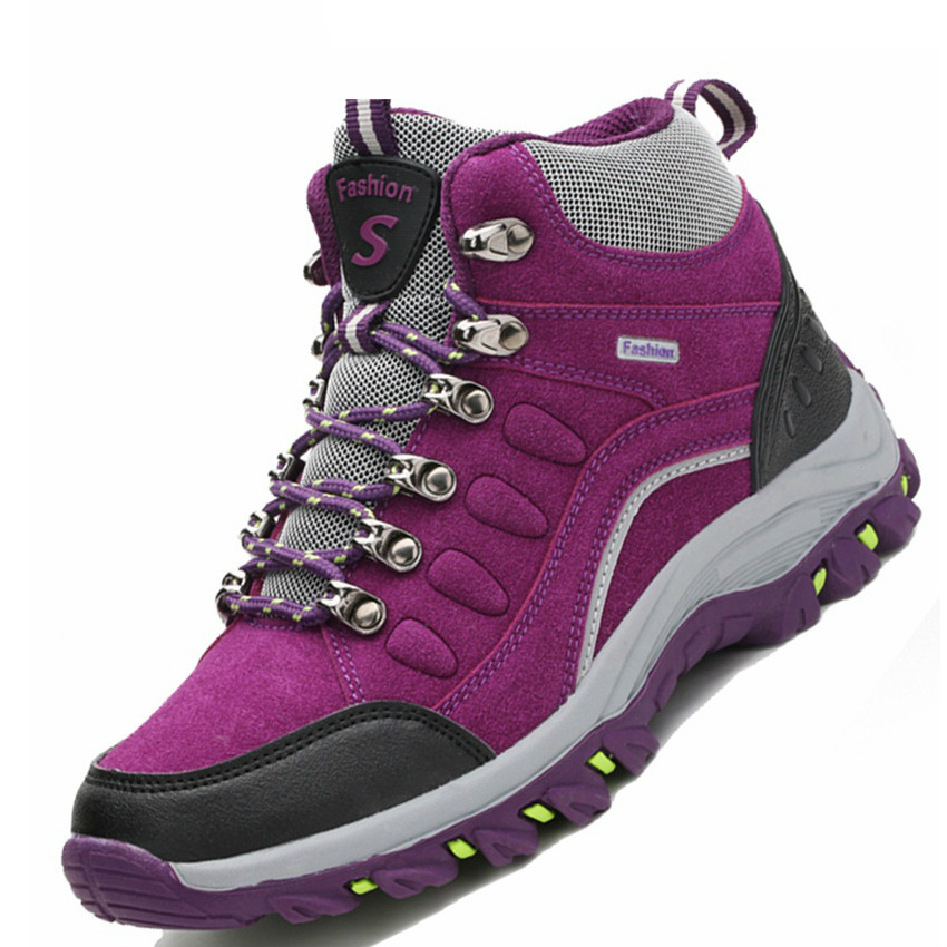 Hiking Shoes Snow-Boots Mountain-Zapatillas-Trekking Outdoor Waterproof Winter High-Top