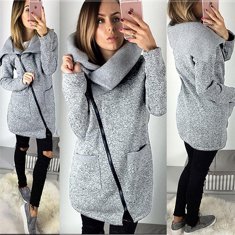 Winter Women Jacket Solid Color Zipper Coat Hoodies outwear Casual Warm Overcoat Fashion Ladies Jacket
