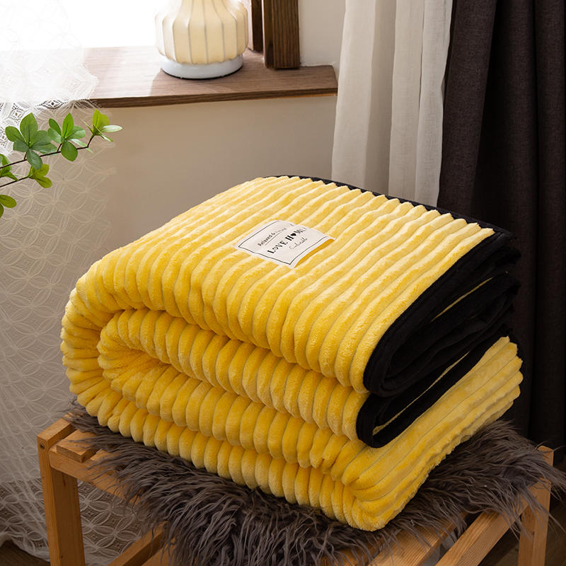 Brand factory throw blanket for sofa Solid Yellow Color Soft Warm Flannel Blanket On the Bed Thickness Throw Blanket