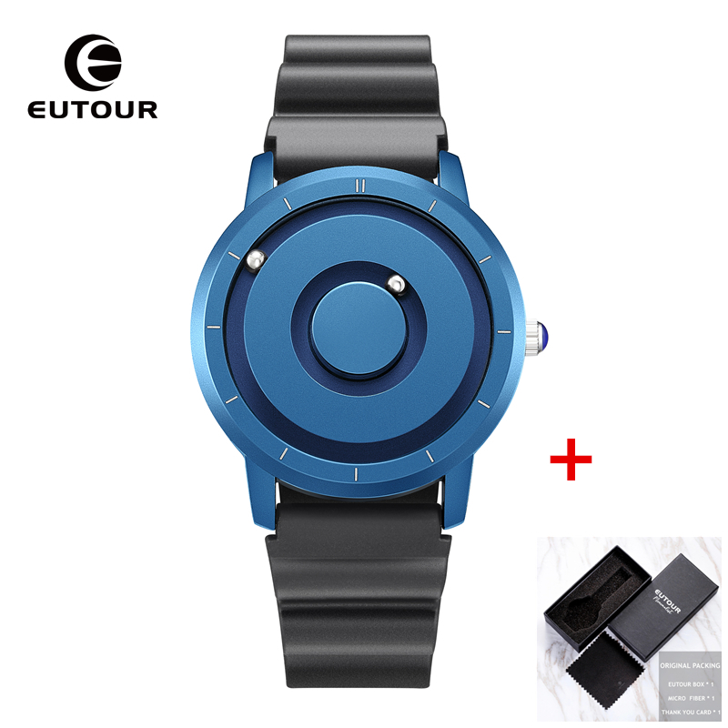 Image 2 - EUTOUR New Innovative Blue Gold Magnetic Metal Multifunctional Watch Men's Fashion Sports Quartz Watch Simple Men's Watch-in Quartz Watches from Watches