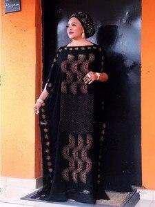Image 3 - Dress Length:135cm Bust:160 New Fashion dresses Bazin Print Dashiki Women long/grown Yomadou Color Pattern oversized