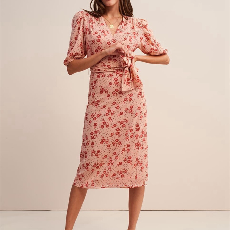Lace up Summer Dress For Women New 2019 Vintage Floral Button Wrap Vintage French Tea Wrap