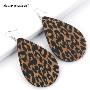 AENSOA Simple Vintage Leopard Wood Earrings African   Teardrop Drop Earrings For Women Wooden Water Drop Pendant Jewelry Gift 5