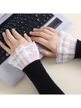2020 New 1 Pair Women Girls Fake Flared Sleeves Layered Lace Pleated Ruched False Cuffs