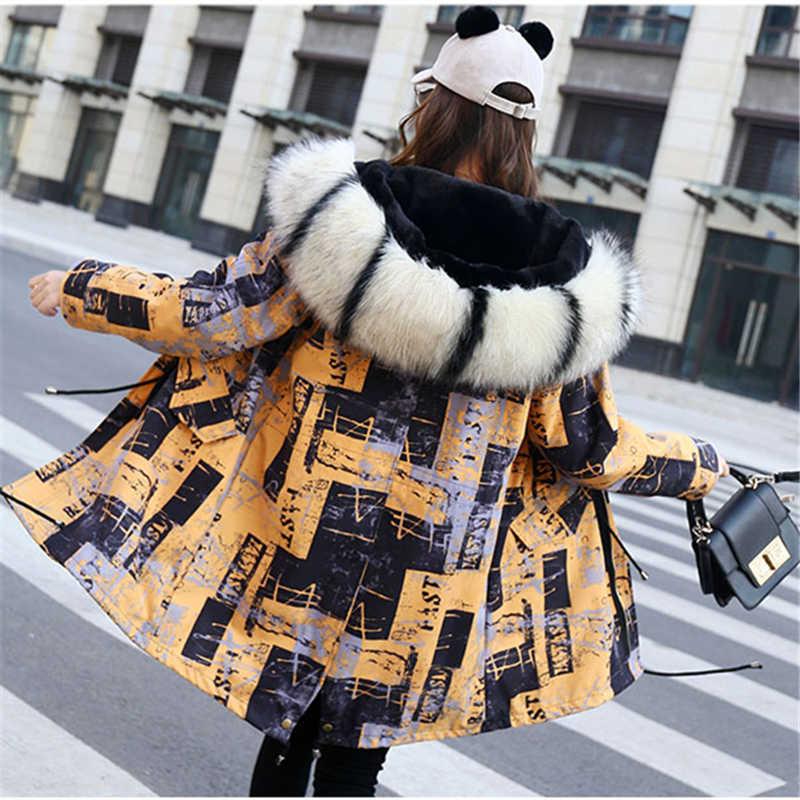 2019 冬ミッドロングキツネの毛皮のアライグマの毛皮の襟女性ジャケット女性のフェイクファーのコートプリントフード付き厚みの暖かいパーカーコート