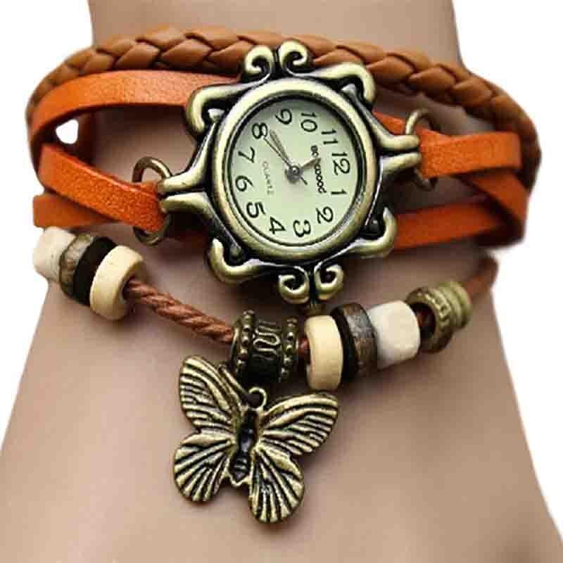 6 Colors Ladies Womens Retro Leather Watch Women Bracelet Butterfly Decoration Quartz Luxury Vintage Style Design 5D9U 6YLF часы