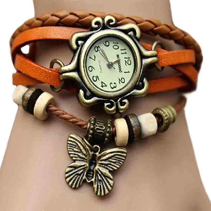 6 Colors Ladies Womens Retro Leather Watch Women Bracelet Butterfly Decoration Quartz Luxury Vintage Style Design 5D9U 6YLF часы