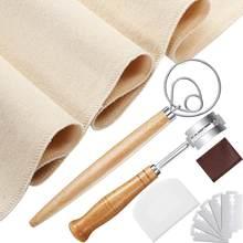 Outils de fabrication du pain, y compris fouet à pâte danois, grattoir à pâte, tissu anti-pâtisserie, Lame à pain avec 5 lames de rechange