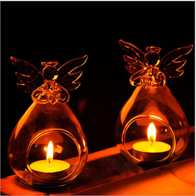 Cute Angel Glass Crystal Hanging Tea Light Candle Holder Home Decor Candlestick Home Room Family Decor Dropshipping 5