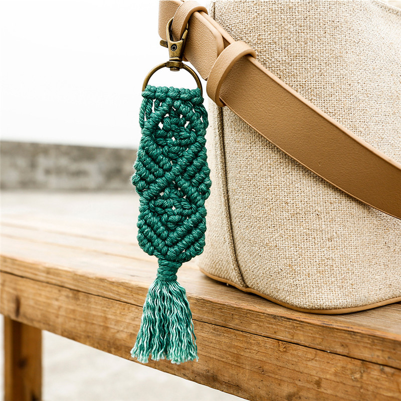 Bohemia Macrame Hand-woven Key Chains For Women Multi Colors Fashion Simple Bag Accessories Wild Pendants Wholesale Custom Made