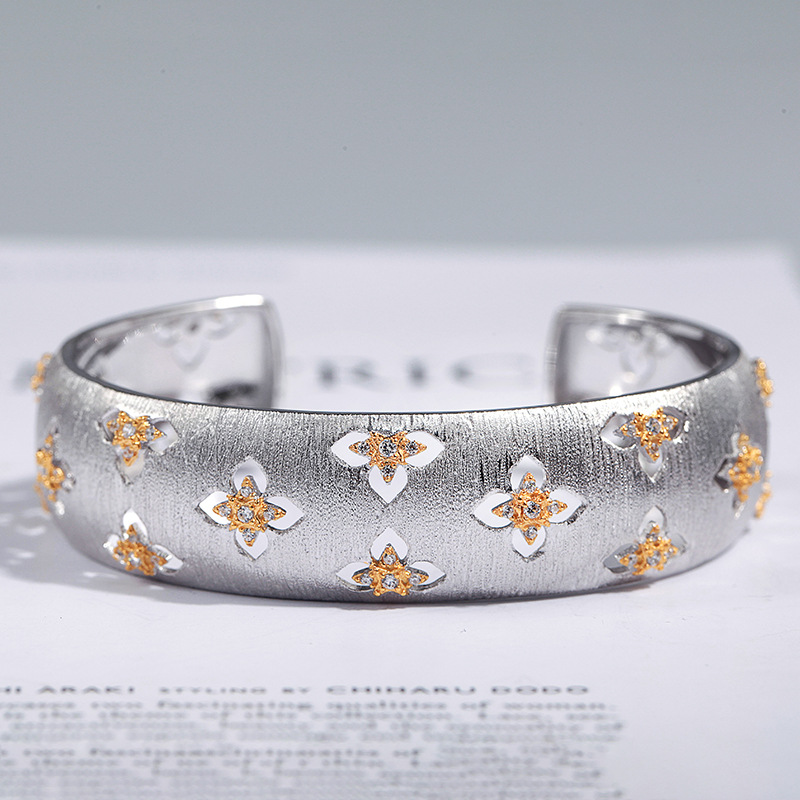 çCloseout DealsBangles Jewelry Four-Leaf Palace Clover Cmajor-Sterling-Silver Women Hollow for Patrick's-Day-Gift