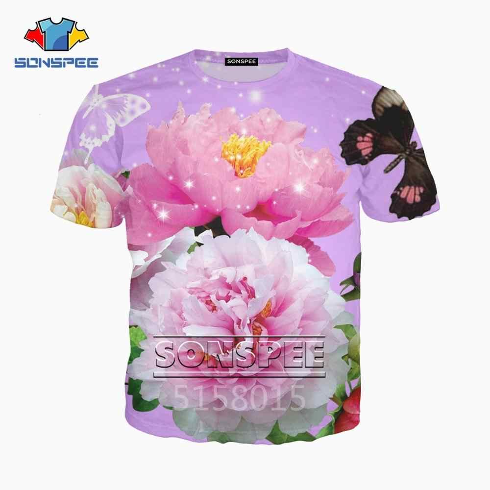 SONSPEE Bellissimi fiori Harajuku 3D stampato Uomo Donna vestiti hip hop t shirt unisex di Modo di T shirt top tees streetwear XK95a