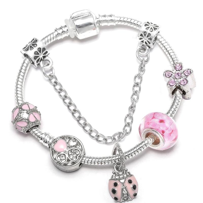 BAOPON Прямая поставка винтажные Подвески серебряного цвета браслеты для женщин DIY Кристальные бусины изящные браслеты для женщин Pulseira ювелирные изделия - Окраска металла: Type 11
