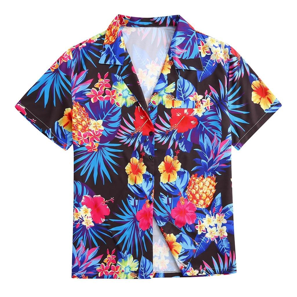 Summer Men Shirt Blouse Ethnic Floral Printing Short Sleeve Loose Buttons Casual Men Shirt Hawaiian Tops Camisas Hombre Koszula