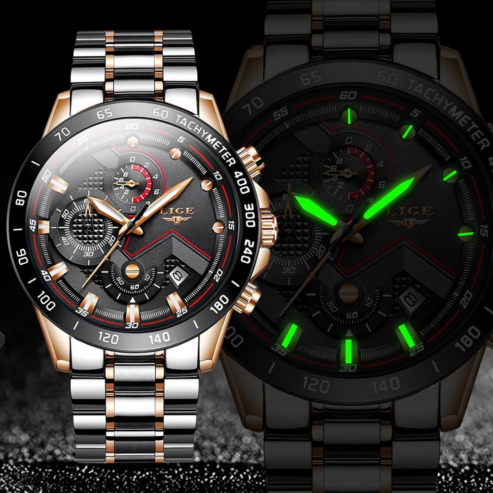 LIGE 2020 New Business Mens Watches Top Brand Luxury Stainless Steel Waterproof Sports Chronograph Quartz Watch Men Reloj Hombre