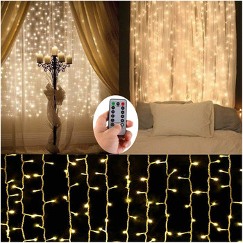 Remote Control icicle Curtain Fairy Lights Christmas LED  Window Icicle Garland Party Holiday Garden Street Wedding Decor