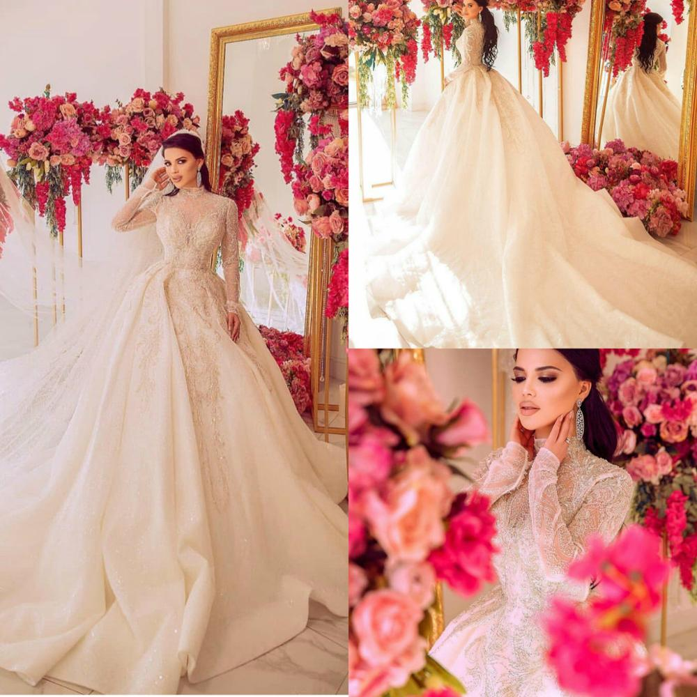 Luxury Church Wedding Dresses 2020 Appliques Lace High Neck Country Wedding Dress Long Sleeves Plus Size Vestidos De Novia