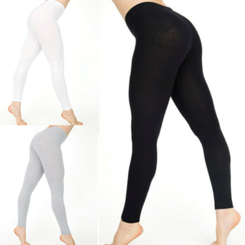 New Women Autumn Cotton White Black Solid Color Skinny Stretchy Pants Casual Leggings