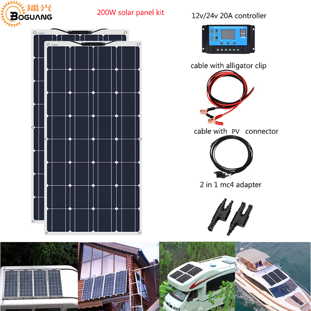 Boguang 2pcs 100w Flexible Solar Panel cell Module 200W DIY Kit PV RV Car Boat Home Use 12V /24V  battery CaravanCamper Roofs