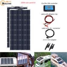 Boguang Brand Solar panel 2 قطعة 100w 200W مرنة خلية لوحية شمسية وحدة نظام RV سيارة مركبة بحرية المنزل استخدام 12 V/24 V DIY كيت لوحة طاقة شمسية s painel solpanel