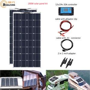 Image 1 - Boguang Brand Solar panel 2pcs 100w 200W גמיש פנל סולארי תא מודול מערכת RV רכב הימי סירת בית שימוש 12V /24V DIY ערכת פנלים סולאריים painel solpanel