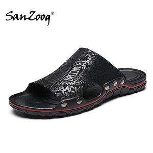 Image 1 - Außerhalb Flache Mikrofaser Männer Leder Hausschuhe Casual Sommer Schuhe Herren Rutschen Sliders Slide Pantoffel 2020 Dropshipping