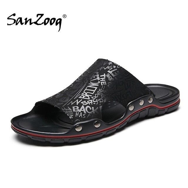 Außerhalb Flache Mikrofaser Männer Leder Hausschuhe Casual Sommer Schuhe Herren Rutschen Sliders Slide Pantoffel 2020 Dropshipping