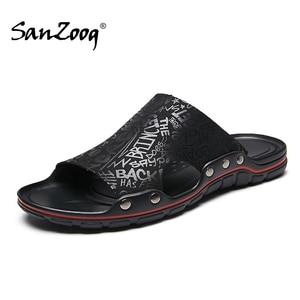 Image 1 - Fora de microfibra plana chinelos de couro dos homens casuais sapatos de verão slides deslizantes slide slide 2020 dropshipping