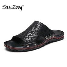 Outside Flat Microfiber Men Leather Slippers Casual Summer Shoes Mens Slides Sliders Slide Slipper 2020 Dropshipping