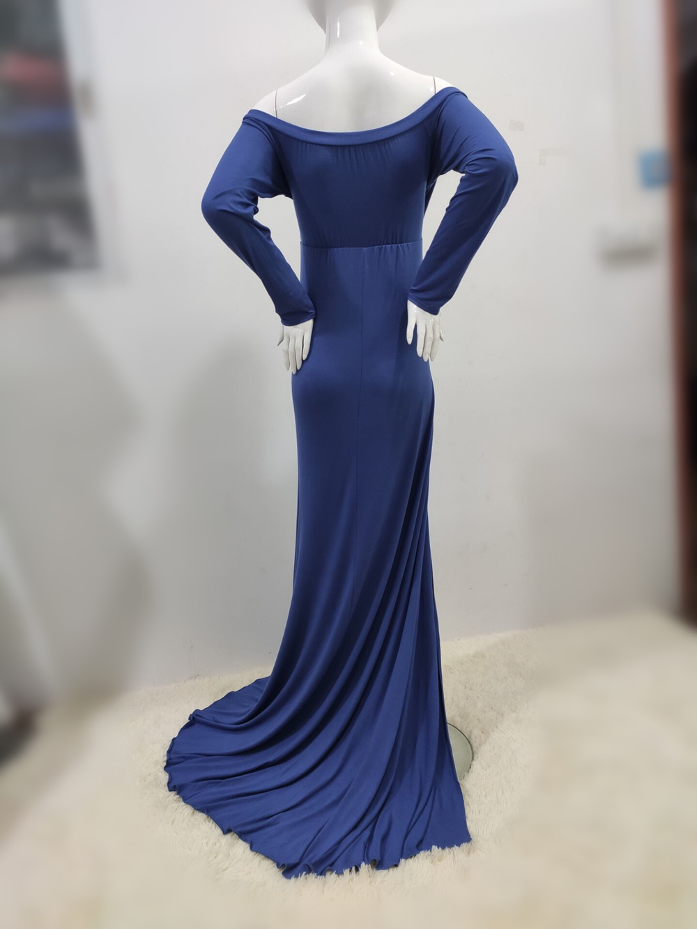 Sexy Shoulderless Maternity Dresses For Photo Shoot Maxi Gown Split Side Women Pregnant Photography Props Long Pregnancy Dress (27)