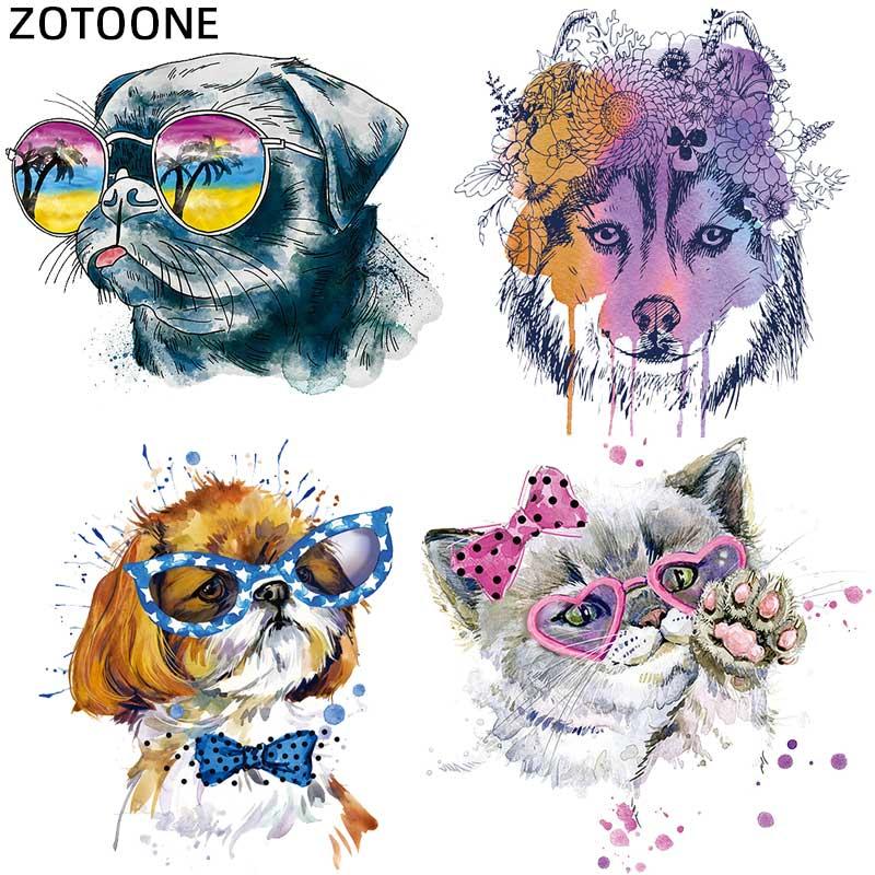 ZOTOONE волк собака Кот передачи тепла патчи для аппликация на одежду, сделай сам, милый набор патчей животных Утюг на футболке с принтом G