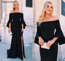 цена на Off Shoulder Mermaid Evening Dresses 2020 Long Sleeves Side Split Sweep Train Vestido Modest Long Prom Party Dresses Cheap