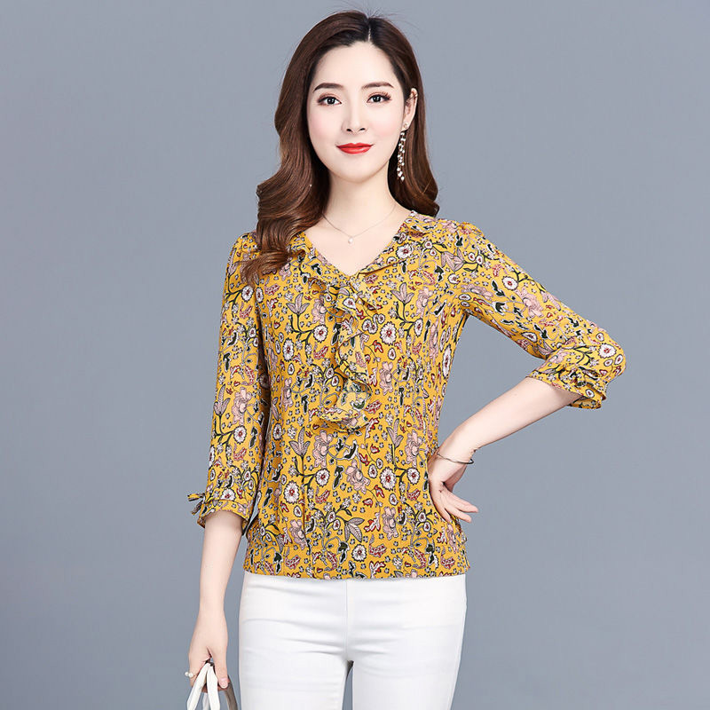 Women Spring Summer Style Chiffon Blouses Shirts Lady Casual O-Neck Short Flare Sleeve Flower Printed Blusas Tops DF3011