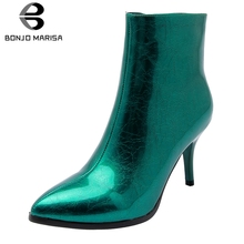 BONJOMARISA New Arrival Party Wedding Booties Ladies Fashion Evening Ankle Boots Women 2019 Autumn High Heels Shoes Woman 32-43