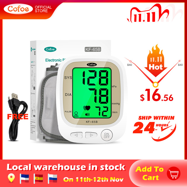 Cofoe automático monitor de pressão arterial braço superior medidor pulso bp batimento cardíaco tonômetro digital lcd sphygmomanômetro