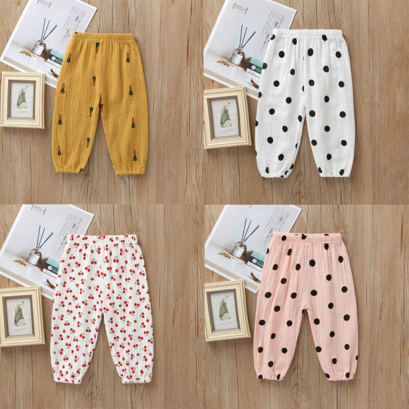 CANIS Kids Baby Boys Girls Polka Dot Cotton Casual Long Pants Toddler Leggings Harem Trousers 2019 Autumn