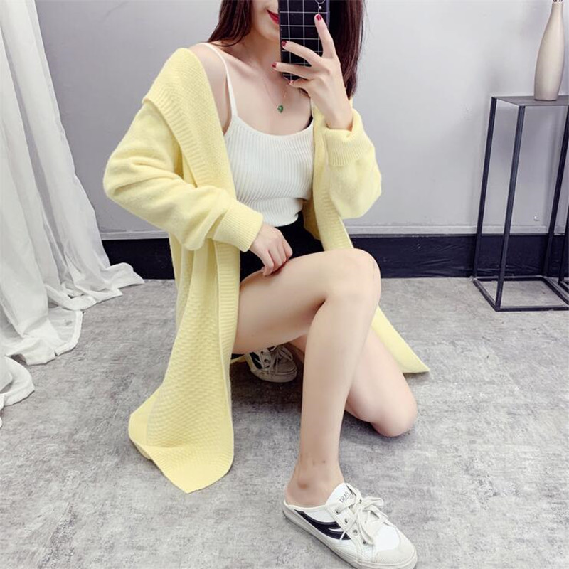 Long Section Hooded Sweater Cardigan Long Sleeve Over The Knee 2019 New Thickening Autumn And Winter Twist Coat Coat Female