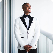 Tuxedo Jacket Singer Costume Groom Suit Floral Party Wedding White Smoking Tailor-Made