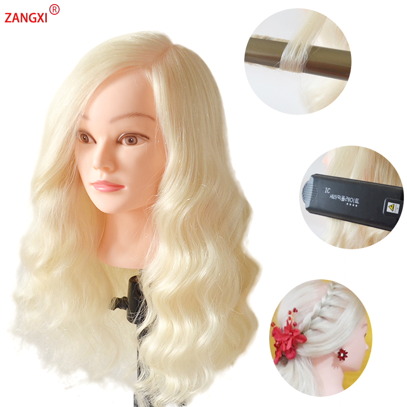 """22"""" Blonde Hair Maniquin Head Professional Training Head With 70% Human Hair Practise Hairstyle Nice Hairdressing Head Mannequin"""
