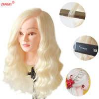 """22 """"Blonde Haar Maniquin Kopf Professionelle Ausbildung Kopf Mit 70% Menschliches Haar Practise Frisur Nizza Friseur Kopf Mannequin"""