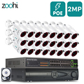 Zoohi POE Kamera System 1080P 24CH Outdoor CCTV Kamera Sicherheit System Kit Video Überwachung Kit Sicherheit Kamera System IP66