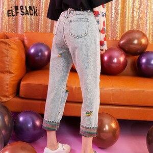 Image 3 - Elfsack Xanh Dương Rắn Cầu Vồng Tách Rửa Sạch Quần Jeans Nữ Thu Đông 2019 Miếng Dán Cường Lực Hàn Quốc Phong Cách Casual Công Sở Nữ Hàng Ngày Quần