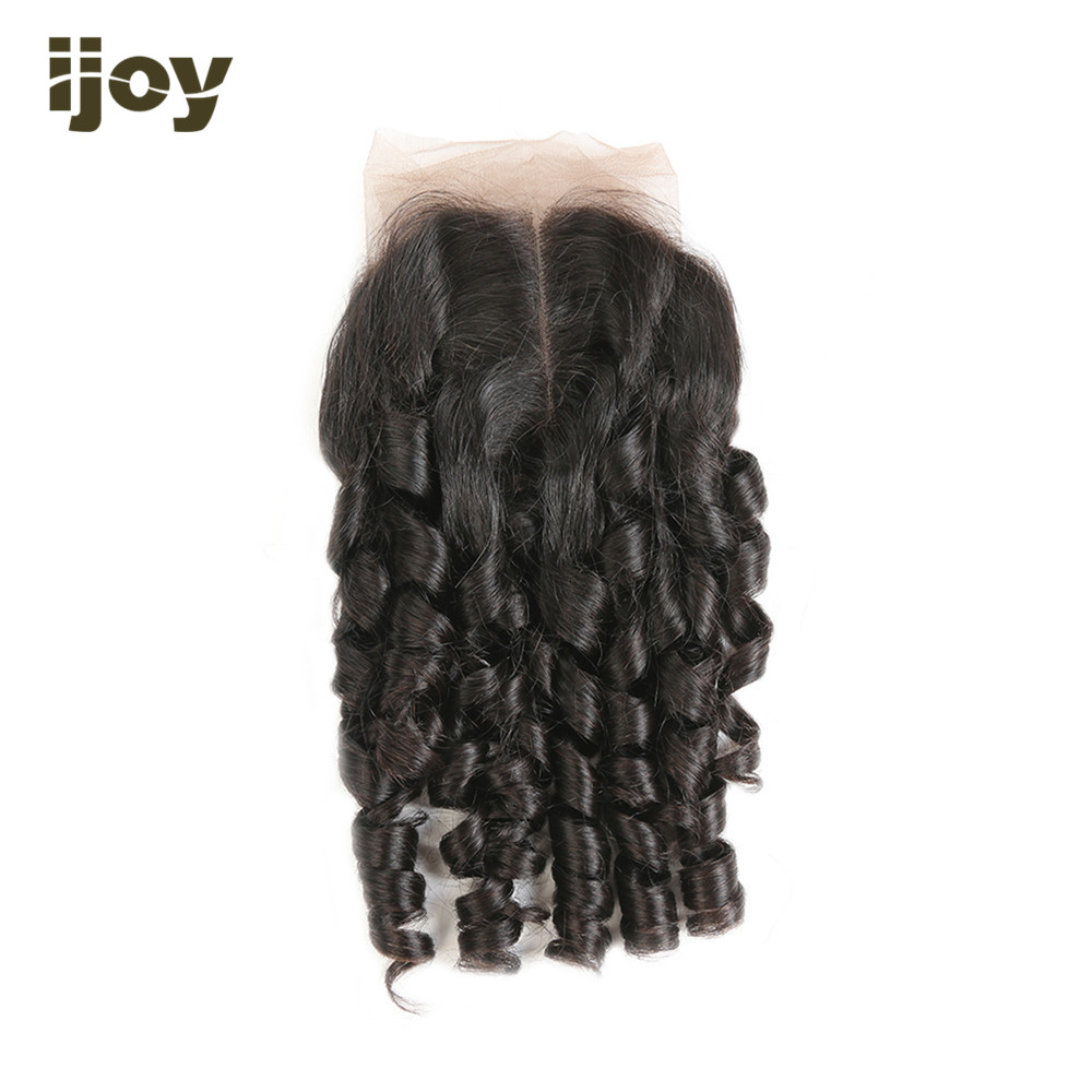 【IJOY】Bouncy Curly Human Hair With 4x4 Lace Closure Natural Color 8