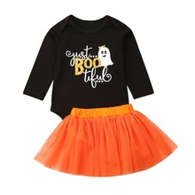 Autumn Baby Girl Clothes for Newborns Long Sleeve Halloween Costumes Letters Print Romper+Mesh Skirts Costume Sets #p