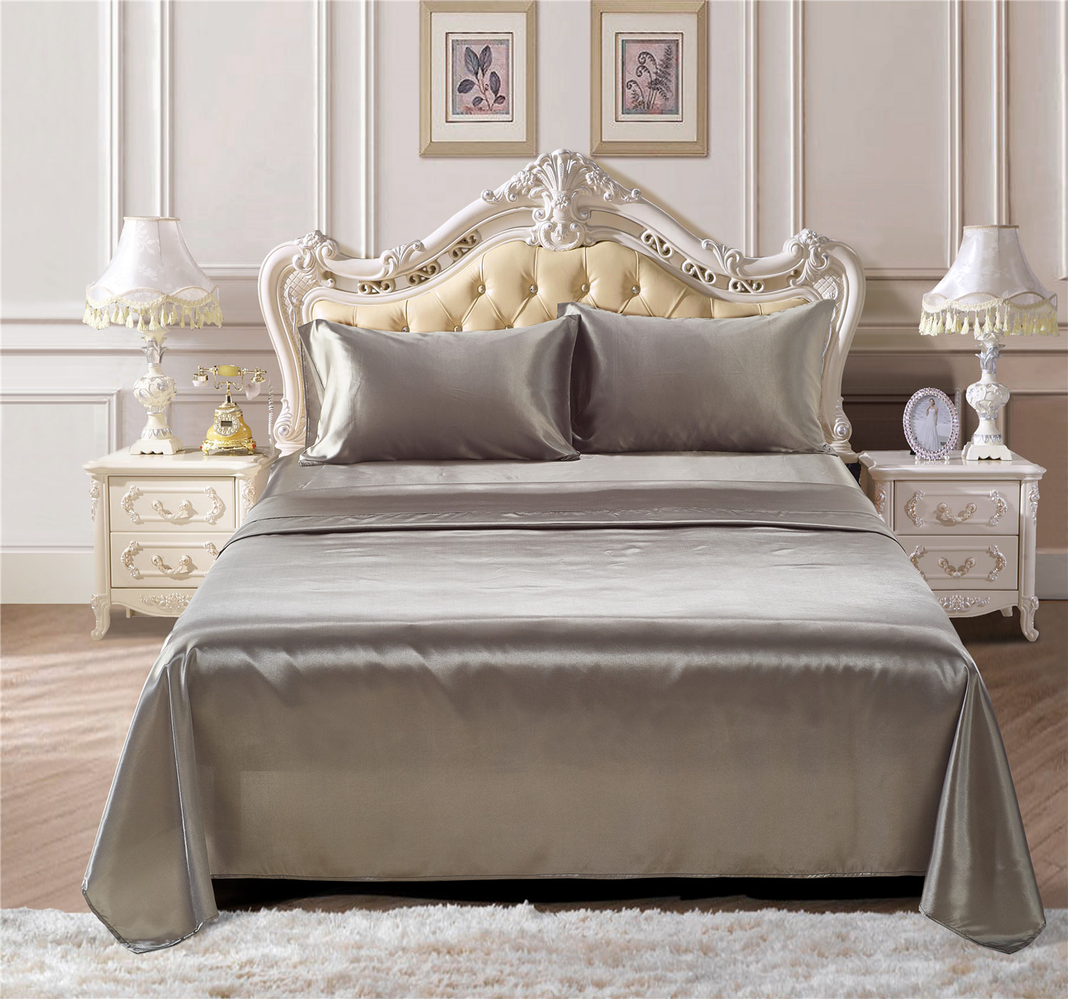 Soft silk fitted sheets sets satin US Twin/Queen /King full sizes solid color Bedding 4pcs/set bedspread bed linens set|Sheet| |  - title=